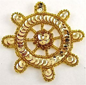 Ships Wheel Gold Sequins and Beads 3""