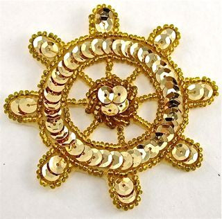 Ships Wheel Gold Sequins and Beads 3