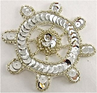 Ships Wheel Silver Sequins and Beads 3""
