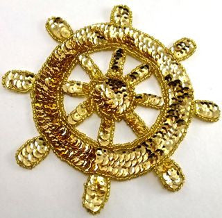 Ships Wheel All gold Sequins and Beads 6""