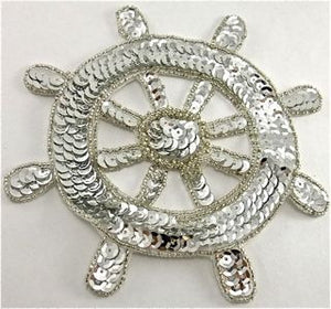 Ships Wheel Silver Beads and Sequins 6""