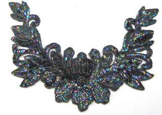 "Designer Flower Motif Neckline with Moonlight Sequins and Beads 9"" x 12"""