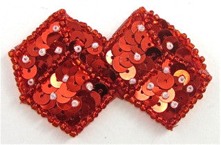 "Dice with Red Sequins and Beads 2.5"" x 1.5"""
