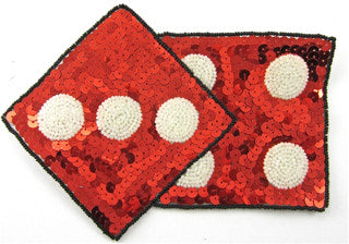"Dice with Red Sequins and white Dots, 7.5"" x 5.5"""