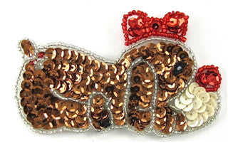 "Dog with Bronze, Red, White Sequins and Silver Beads 3"" x 2.5"""