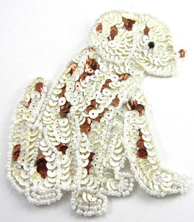 "Dog Dalmation with Brown and White Sequins and Beads 5"" x 3"""