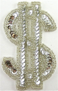 "$ Sign w/ Silver Sequins and Beads 4"" x 2.5"""