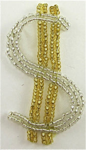 "Dollar Sign Made with Silver and Gold Beads 3"" x 1.5"""