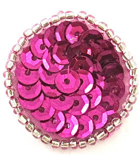 10 PACK Circle Dot with Fuchsia Sequins and Beads* Multiple Sizes