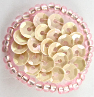 6 PACK Circle Dot with Creamy Sequins and Pink Beads  .75""
