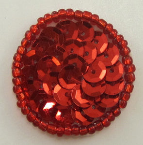 Dot with Red Sequins and Beads 1""