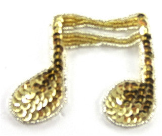 "Double Note Gold Sequins and Beads in 2 Variants  3"" x 2.5"""