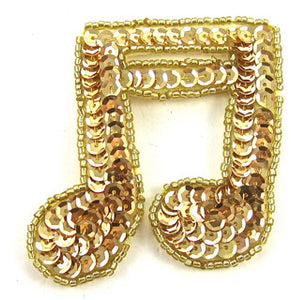 "Double Note Gold Beads and Sequins 2.5""  x 2.5"""