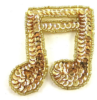 Double Note Gold Beads and Sequins 2.5