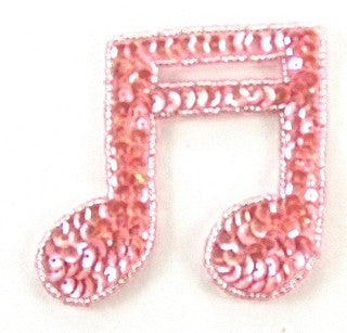 "Double Note Pink Beads and Sequins  3"" x 3"""