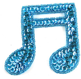 "Double Note turquoise Beads and Sequins 3"" x 3"""