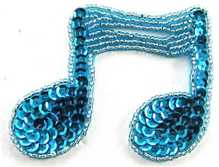 "Double Note with Turquoise Sequins and Beads 2.5"" x 3"""
