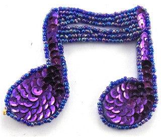 "Double Note with Purple Sequins and Moonlite Beads 2.5"" x 2"""