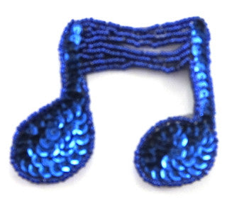 "Double Note with Royal Blue Sequins and Beads 2.25"" x 3"""