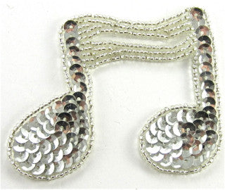 "Double Note with Silver Sequins and Beads  2.5"" x 3"""""