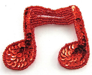"Double Note with Red Sequins and Beads 2.5"" x 3"""