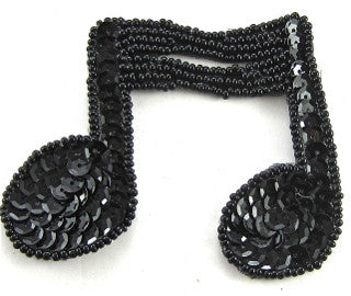"Double Note with Black Beads and Sequins 2.5"" x 3"""