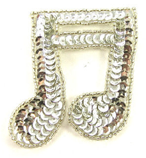 "Double Note with Silver Sequins and Silver Beads 2.5"" x 2.5"""