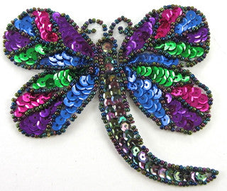 "Dragonfly MultiColored Sequins and Beads 3.5"" x 4"""