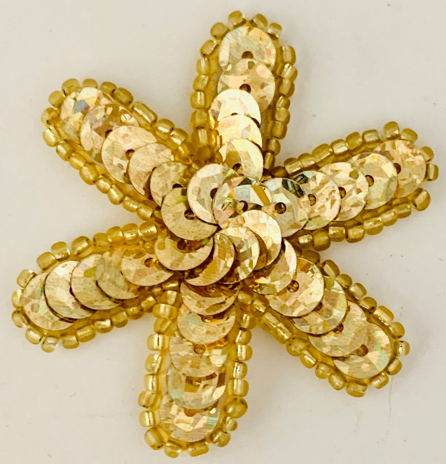 Flower Gold Sequin and Beads Two Styles  2