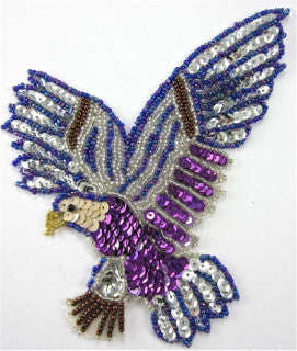 "Eagle with Purple Beads and Sequins 6"" x 4.5"""
