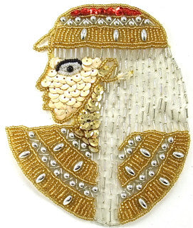 "Egyptian Pharaoh with Gold Silver Sequins and Beads 5.5"" x 4.5"""