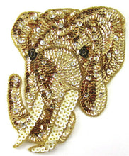 "Load image into Gallery viewer, Elephant Gold Sequins and Beads 3.5"" x 2.5"""