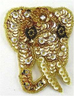 "Elephant Small Face with Gold Sequins 3.5"" x 2.5"""