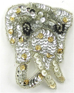 "Elephant Small with Gold and silver Sequins and Beads 3.5"" x 2.5"""