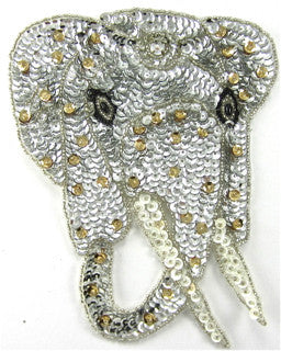 "Elephant with Silver and Gold 6.25"" x 5"""