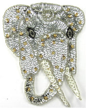 "Load image into Gallery viewer, Elephant with Silver and Gold 6.25"" x 5"""