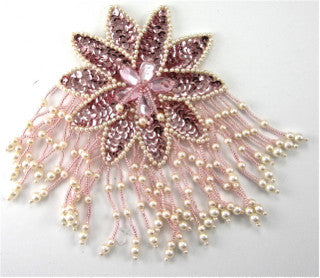 "Epaulet Flower with Pink Beads Sequins and Gem Stones 6"" x 4"""