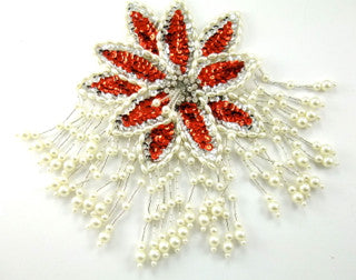 "Epaulet Red and White Sequin and Beads with Rhinestones 8"" x 5.5"""