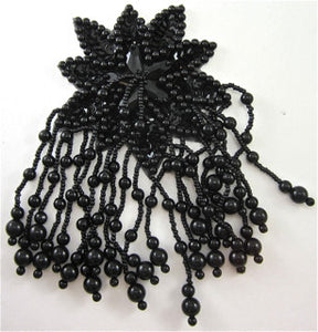 "Epaulet with Black Sequins and Beads 6"" x 4"""