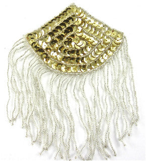 "Epaulet with Gold Sequins and Silver Beads 3.25"" x 3"