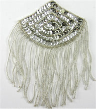 "Load image into Gallery viewer, Epaulet with Silver Sequins and Silver Beads  5.5"" x 3.5"""