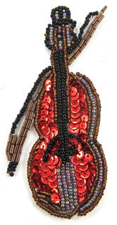 "Fiddle, Violin and Bow with Red Sequins and Bronze Beads 4.5"" x 2.5"", 2 Variants"