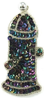 "Fire Hydrant Moonlight Sequins Silver Beads 4"" x 2"""