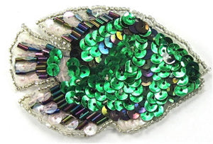 "Fish with Green Moonlite White Sequins and Beads 3"" x 2"""