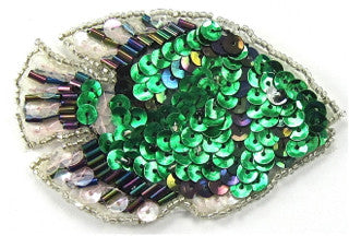 Fish with Green Moonlite White Sequins and Beads 3