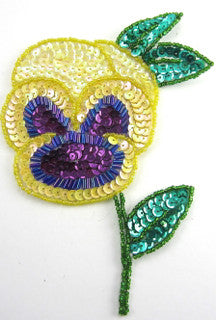"Flower Pansie with Yellow Purple Sequins 6"" x 4"""