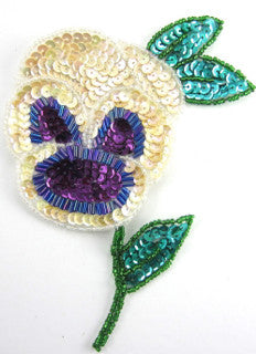 "Flower Pansie with Cream Purple Green Sequins 6"" x 4"""
