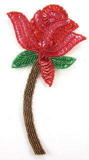 "Flower Red Rose with Bronze Stem 6.5"" x 3"""