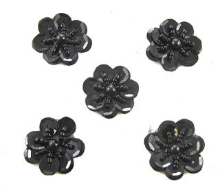 Flower Set of  5 Black Sequins and Beads 1""