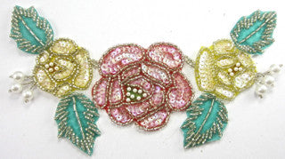 Flower Spray with Yellow Pink Turquoise Sequins and Beads